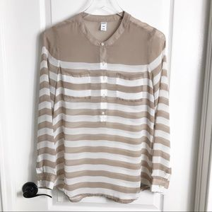 💕Old Navy Tan & White Striped See-thru Top Small